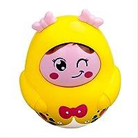 KEANER 新生児 乳児 ロールポリ おもちゃ 楽しい ラトル スイング ノッディング ドール タンブラー 知的 音楽玩具 (イエロー)