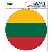 リトアニア国立国旗 - サークル MAG-格好いい'S(TM)カー/冷蔵庫マグネット