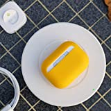 DamonLight AirPods Pro Case 4 Layers Protective Silicone [Front LED Visible][Supports Wireless Charging] Shock Proof Cover for Airpods Pro Charging Case(Yellow)