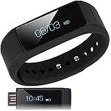 Fitbit Best Deals - 【日本正規代理店】I5 Plus スマートウォッチ ( 活動量計 / 歩数計 / 時計 / 消費 カロリー / 睡眠 / 走行 距離 / 遠隔 カメラ / リマインダー / 生活防水 / リストバンド ) OLED Bluetooth 4.0 / スマホ / iphone / アンドロイド / Samsung / アプリ 日本語対応 (ブラック)