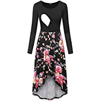 Annery Women's Long Sleeve Floral Nursing Cami Dresses for Breastfeeding