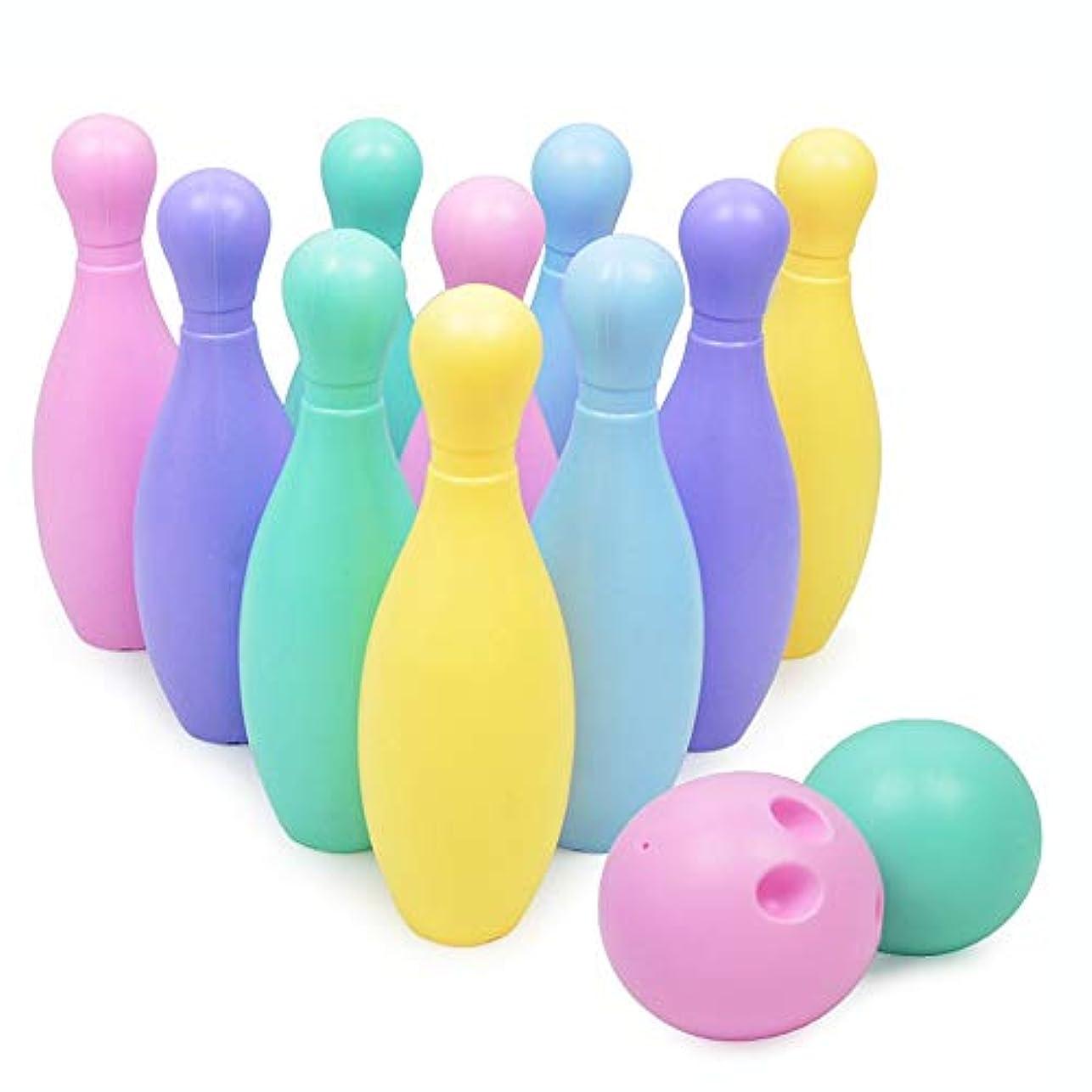 旋律的宇宙のせっかち幼児ボーリングのおもちゃ カラフルなボーリング設定スキットルズゲーム屋外の子供の幼児の少年少女のための10個のピン2玉と屋内ガーデン玩具 幼児教育玩具 (色 : Multi-colored, Size : One size)