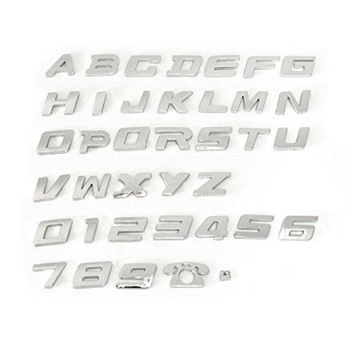 【M】 3D 立体 英数字文字エンブレム 38P 英語 26個+数字 10個+電話ロゴ 1個+コマ 1個 FJ4399