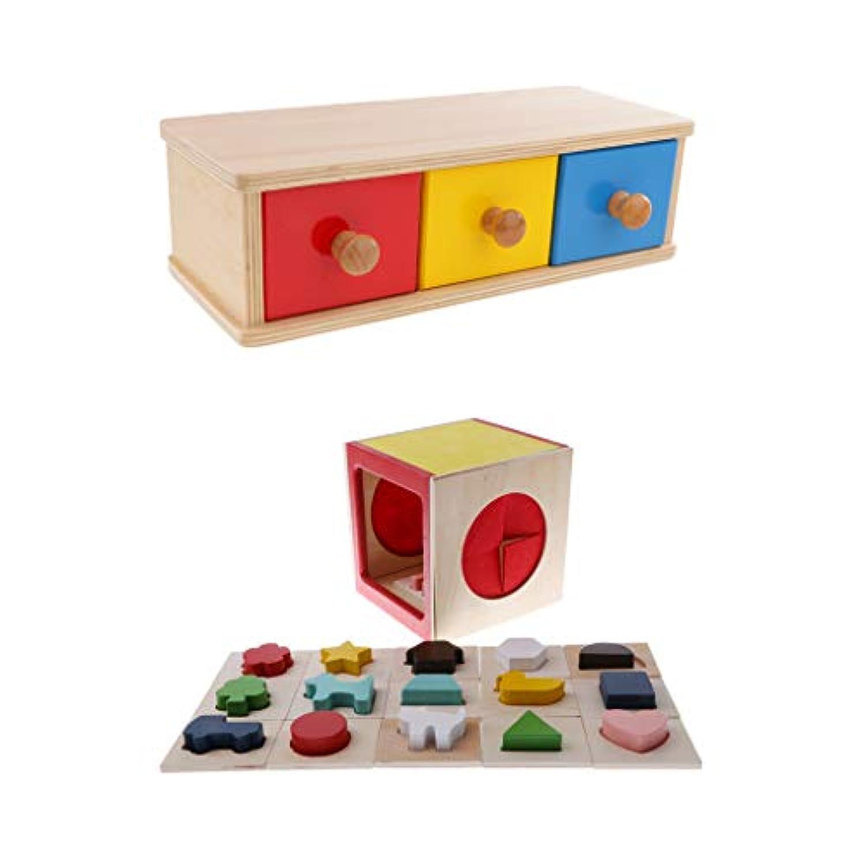 B Blesiya 子供 知育玩具 木製 おもちゃ シェイプソートボックス ジオメトリブロック 感覚教育