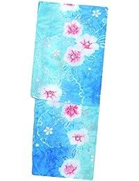 女性浴衣【青緑 ターコイズブルーグリーン 椿雪輪 14452】ラメ 絞り風