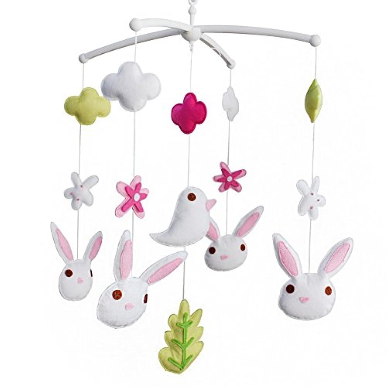 直感乱気流優越ベビーベッドの装飾音楽ベビーベッドモバイル手作りギフト鳥とウサギ