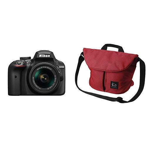 Nikon デジタル一眼レフカメラ D3400 AF-P 18-55 VR レンズキット ブラック D3400LKBK + HAKUBA カメラバッグ Chululu(チュルル) ホリデイ ショルダーバッグ M 6L レッド SCH-HDSBMRD