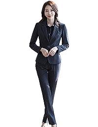 [美しいです] レディース スーツ コート セット 二点セット チェック柄 ハイウエスト 長袖 レジャー OL スリム 春 秋 就活 通勤 ビジネス用 面接 小さいサイズ フリル イングランド風