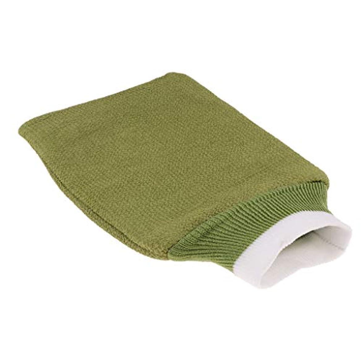 四アレンジピルバスグローブ 浴用手袋 シャワー用 バスミット 垢すり手袋 毛穴清潔 角質除去 男女兼用 全3色 - 緑