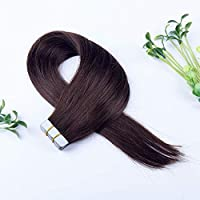 FidgetGear Remyの人間の毛髪延長7A 40cmの継ぎ目が無いPUの皮のよこ糸の方法16インチテープ #02ダークブラウン