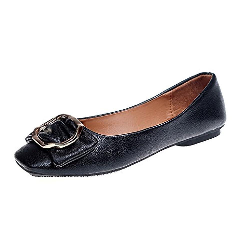 単なるそうふけるレディースフラットシューズHodarey 女性 弓 スクエアヘッド スクエアバックル 浅シングルシューズ 歩きやすい 通気性 おしゃれ プラットシューズ ファッション カジュアル シューズ 女性の靴 アウトドアトシューズ...