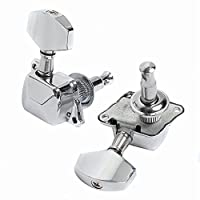 Lanpeed 6R Semi closed Guitar Tuning Pegs Tuners Machine Heads For Guitar parts Replacement (Chrome) [並行輸入品]