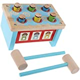 F Fityle 子ども 幼児 木製 ドキドキベンチ もぐらたたきおもちゃ ブルー