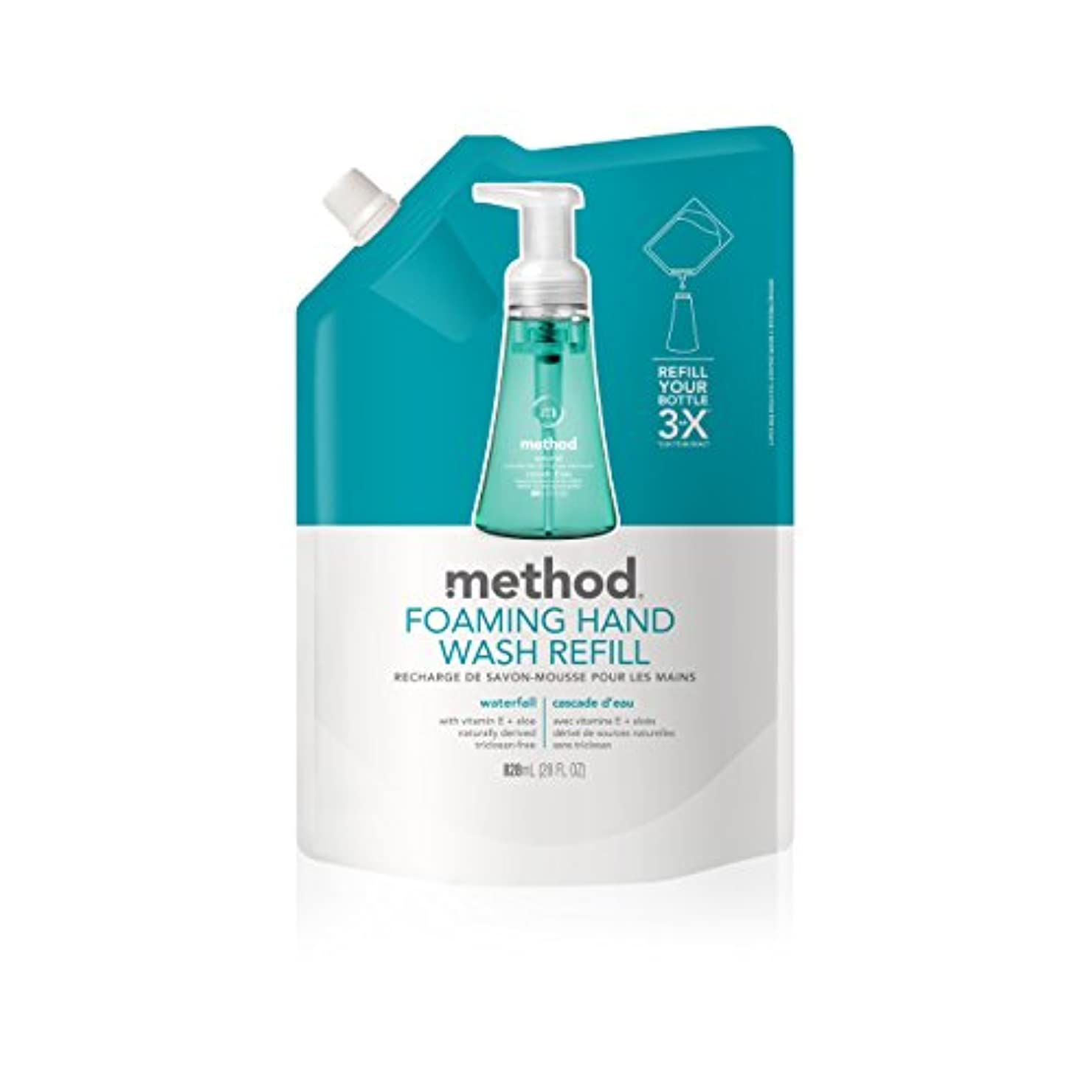 圧力高度重要なMethod, Foaming Hand Wash Refill, Waterfall, 28 fl oz (828 ml)