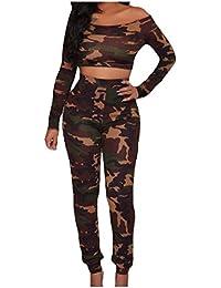 AngelSpace 女性の迷彩カラーのボディスーツは、1つのワードカラーシャツパンツセット