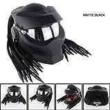 オートバイのヘルメット、プレデターヘルメット、男性と女性、編組とオフロードバイクのフルヘルメット、LEDランプDOT認定のためのUV保護マスク,01,L