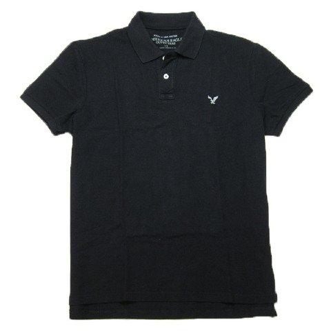 メンズ 半袖 ポロシャツ (ブラック イーグル刺繍) アメリカンイーグルアウトフィッターズ