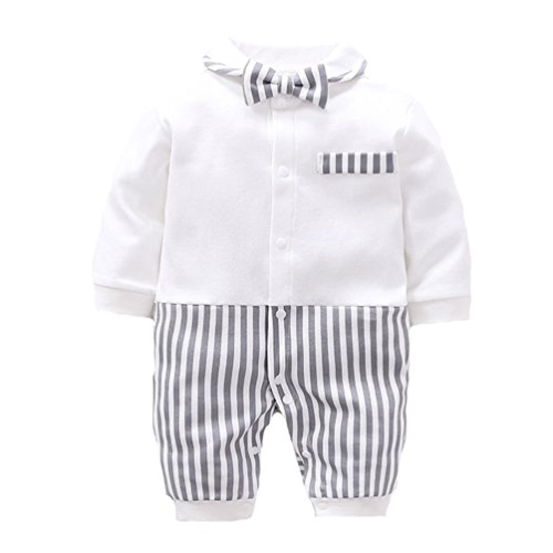 エルフ ベビー(Fairy Baby)ベビーフォーマル ロンパース 長袖 結婚式服 男の子 59cm グレー ストライプ洋服