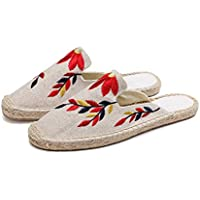 AUCDK Women Linen Sandals Plat Embroidery Beach Sandal Summer Closed Toe Half Slippers Casual Fisherman Slippers