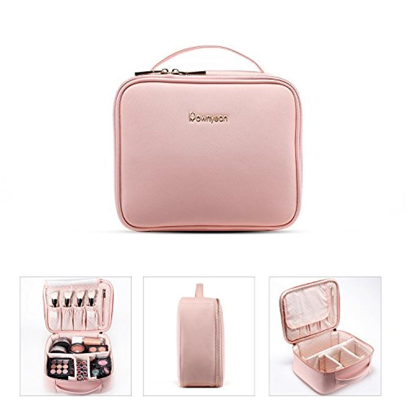 Rownyeon メイクボックス 大容量 化粧ポーチ 大きめ 機能的 メイクポーチ ブラシ入れ付き 仕切り ピンク 旅行用 持ち運び ラベルバッグ 化粧道具 小物入れポーチ 可愛い プレゼント最適