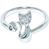 Jenny Baby Girl S925 Sterling Silver Adjustable Ring Cute Cat Kitty