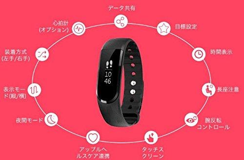 LETSCOM スマートブレスレット 心拍計 スマートリストバンド 歩数計 活動量計 消費カロリー計 睡眠計 時計 リモートカメラ 長時間座りのお知らせ IP67防水 Bluetooth4.0 iPhone/androidに対応