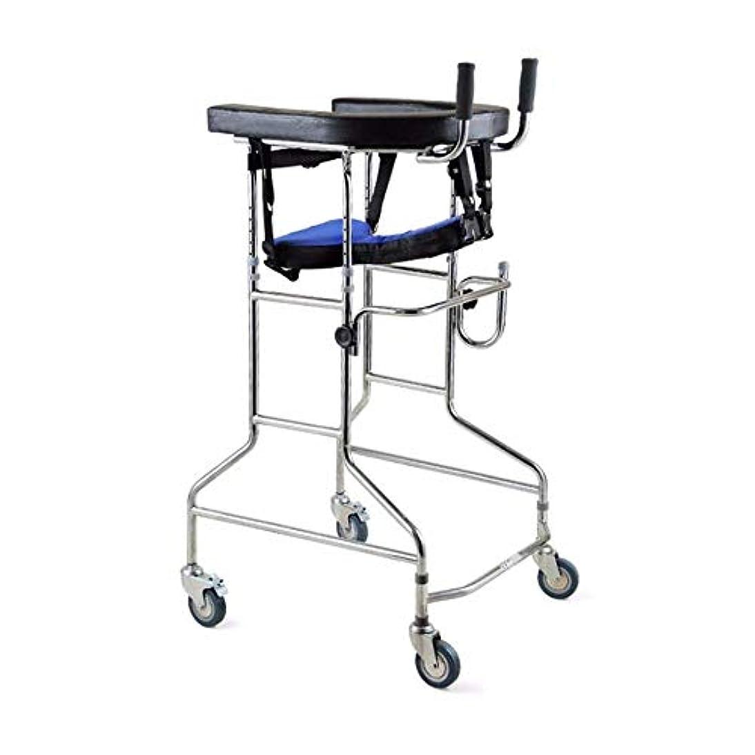 テメリティエチケットベジタリアンリハビリテーション歩行器、多機能高齢者歩行ブラケット、身体障害者用両腕歩行器 (Color : 黒)