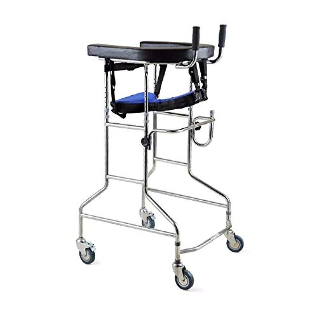 政治家の飲み込むバレルリハビリテーション歩行器、多機能高齢者歩行ブラケット、身体障害者用両腕歩行器 (Color : 黒)