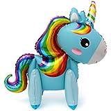 ライフ小屋 風船 バルーン 動物 ユニコーン型 立体 3D ホイルバルーン 子供おもちゃ パーティー小物 女の子 誕生日パーティー size 58×55cm (青)