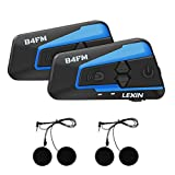 lexin b4fm バイク用 bluetoothインカム バイクFMラジオ 4riders 4人同時通話 2種類マイク 無線インターコムヘルメット用イヤホンマイクヘッドセット 日本語取説2台セット…