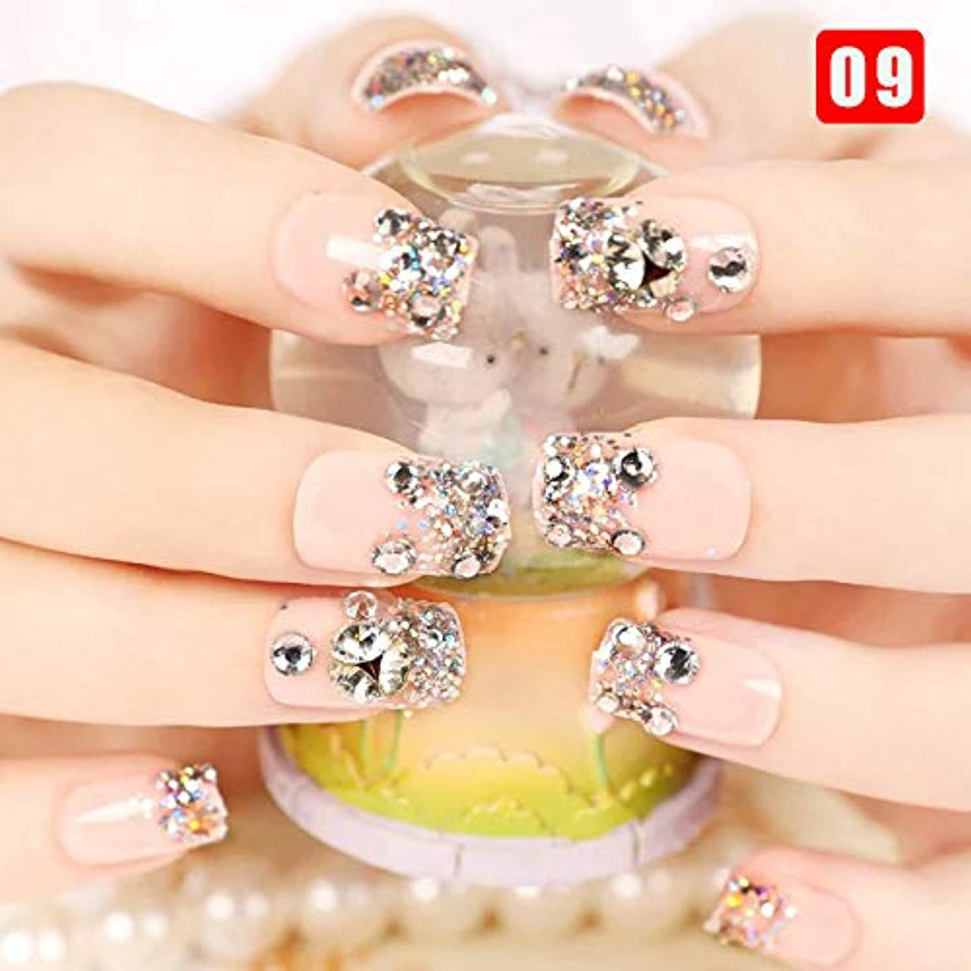 城ひまわりしゃがむHappysource 24本の女性の偽の爪透明な花のビーズの装飾DIYの花嫁の偽の爪