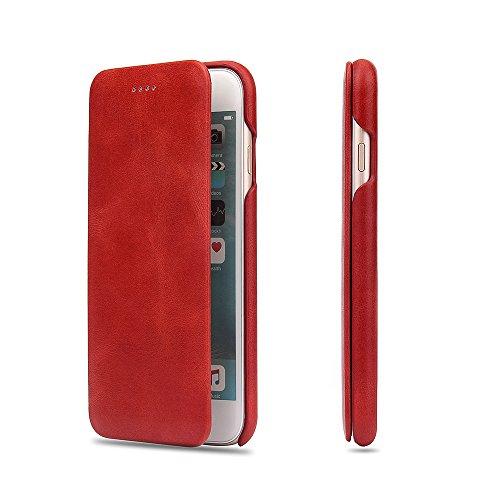 iPhone6plusケース iPhone6splusケース【popo·warp】最高級本革(牛革) 手帳型ケース 財布型 100%手作り 二つ折り マグネットなし スマホケース手帳 女性人気 横開き  保護ケース スマホケース カバーケース 軽量ケース 超薄型 iPhone6plus/6splusカバー レッド (iPhone 6Plus/6splus, A-3-レッド)