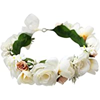 LUOEM Flower Crown Flower Girl Headbands Bridal Hair Accessories Floral Headwrap for Wedding Birthday Party for Kids and Adult