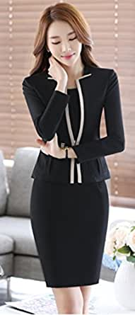 (チェリーレッド) CherryRed レディース セットスーツ OL オフィス 就活 ビジネス 通勤 リクルート 事務服 ワンピース ジャケット 二点セット 2XL ブラック