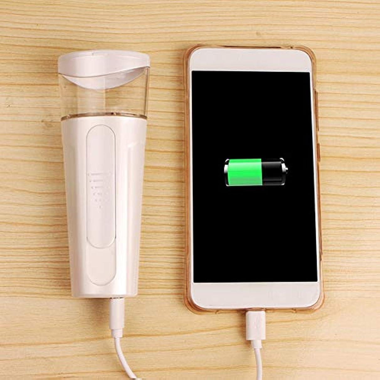 前進から通行人ナノ保湿スプレー ナノイオン フェイシャルスチーム 深い保湿 スキンケア コールドフォグ 化粧鏡 USB充電 モバイルバッテリー (Color : White)