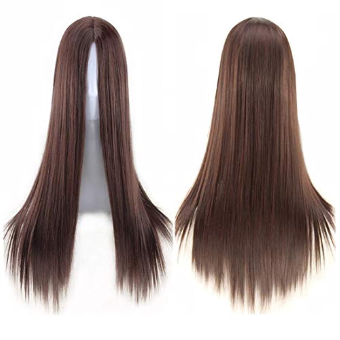 温かい適度に退屈させるKoloeplf ミドルの前髪のかつら耐熱ウィッグ65 cmのロングストレートウィッグの人々のためのパーティーパフォーマンスカラーウィッグ(マルチカラー) (Color : Navy brown)