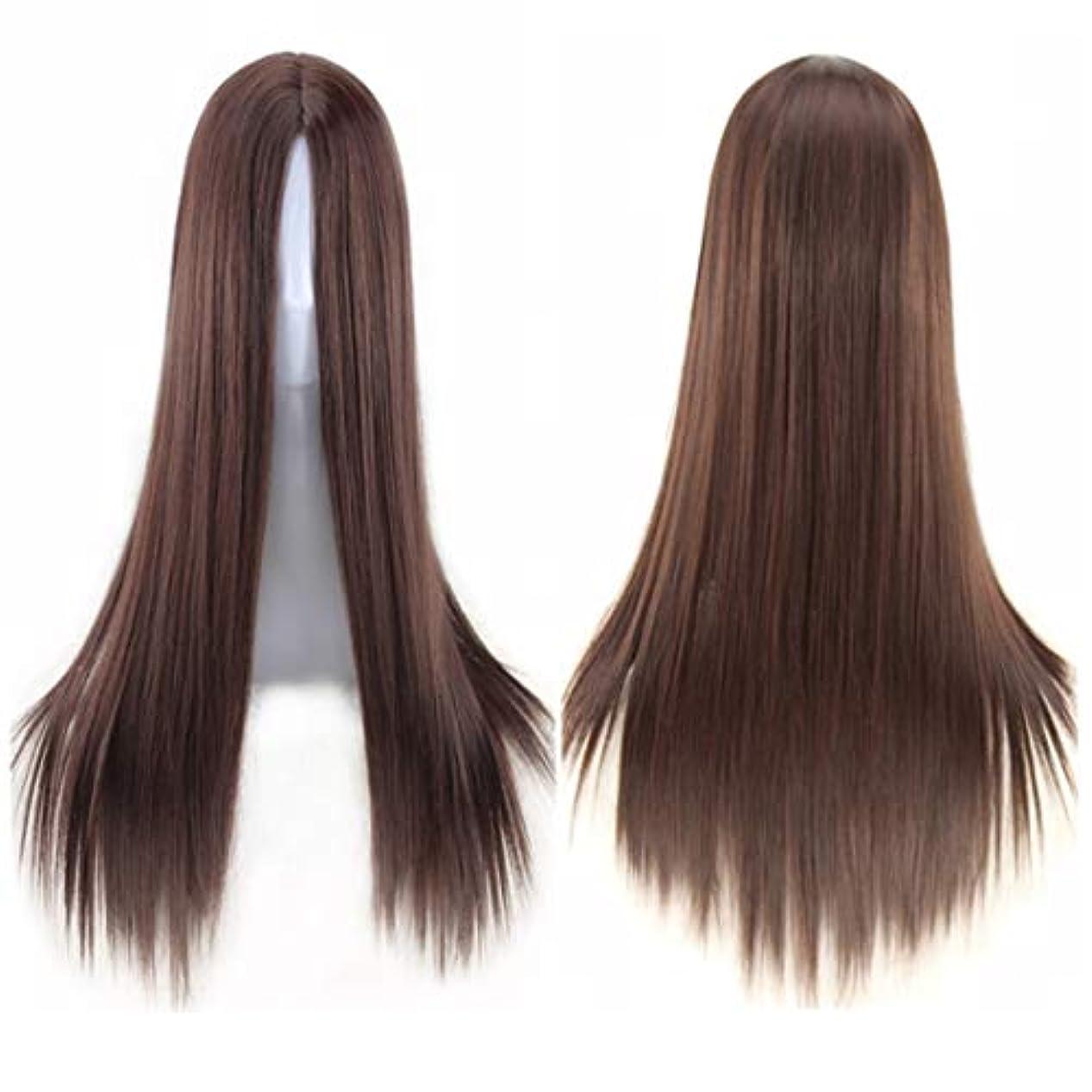 ワードローブ分解する交じるKoloeplf ミドルの前髪のかつら耐熱ウィッグ65 cmのロングストレートウィッグの人々のためのパーティーパフォーマンスカラーウィッグ(マルチカラー) (Color : Navy brown)