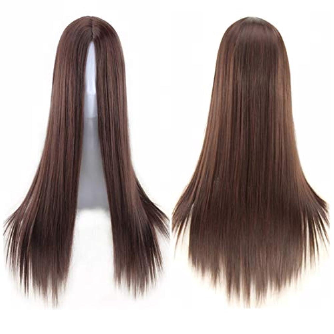 アクセサリー燃料戸棚Koloeplf ミドルの前髪のかつら耐熱ウィッグ65 cmのロングストレートウィッグの人々のためのパーティーパフォーマンスカラーウィッグ(マルチカラー) (Color : Navy brown)