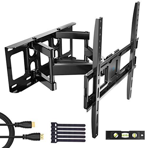 PERLESMITH テレビ壁掛け金具 中型 32-55インチ対応 アーム式 耐荷重45kg LCD LED 液晶テレビ用 前後&左右&上下多角度調節可能 VESA400x400mmHDMI ケーブル付き (テレビ壁掛け)