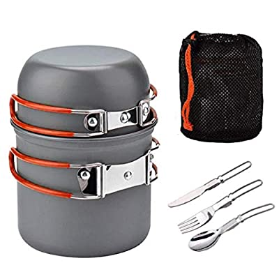 Outdoor Kitchen Equipment, Portable Fishing Picnic Travel Camping Cookware Mess Kit with Pot Fork Spoon