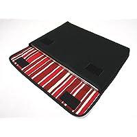 ノートPCケース Surface Laptop2ケース/ Surface Laptopケース「FILO」(ブラック・ボルドーストライプ)-suono(スオーノ) -ハンドメイド
