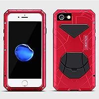 Vasbgjn iPhone 6Sケース、アルミ合金保護メタルエクストリームウォーターレジスタントショックプルーフミリタリーバンパーヘビーデューティーカバーシェルケース[ブラック] for iPhone 6 / 6S (Color : レッド, サイズ : IPhone 7)