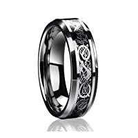 6mmドラゴンデザインタングステンカーバイド結婚指輪使用可能なサイズ5–9ハーフサイズもご電子メールサイズ