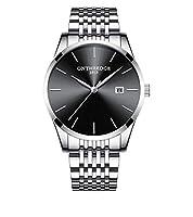 腕時計 メンズ ステンレス 薄型 アナログ クォーツ カレンダー ビジネスカジュアル オシャレ 高級 ファッション シンプル 日付 仕事用 プレゼント