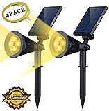 ソーラー LEDライト(第三世代)Siensync ソーラー アウトドアー スポットライト 省エネ 屋外用 充電式 防水加工 バルブ 車道 庭 芝生 ガーデン ウォームホワイト 2個セット