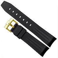 [Richie strap]腕時計ベルト 腕時計バンド 替えストラップ 社外品 ロレックス ROLEX サブマリーナー デイト GMTマスター ラバー 取付幅20mm (ブラック(ゴールド))