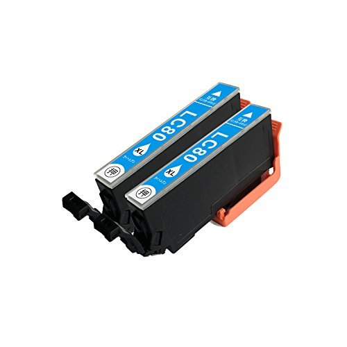 【Ecolink】EPSON エプソン IC6CL80L 増量タイプ ICLC80L ライトシアン 単品2個セット ICチップ付き 互換インクカートリッジ