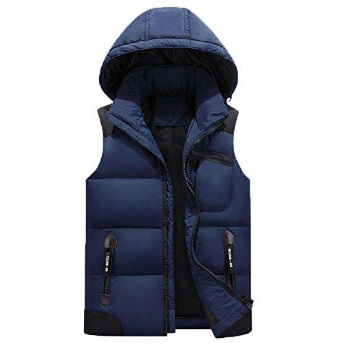 KIMIX ダウン ベスト メンズ 超軽量 防寒 暖かい 秋 冬 袖 なし ダウン ジャケットフード付き 秋冬 アウトドアウェア KMQ10ネービー