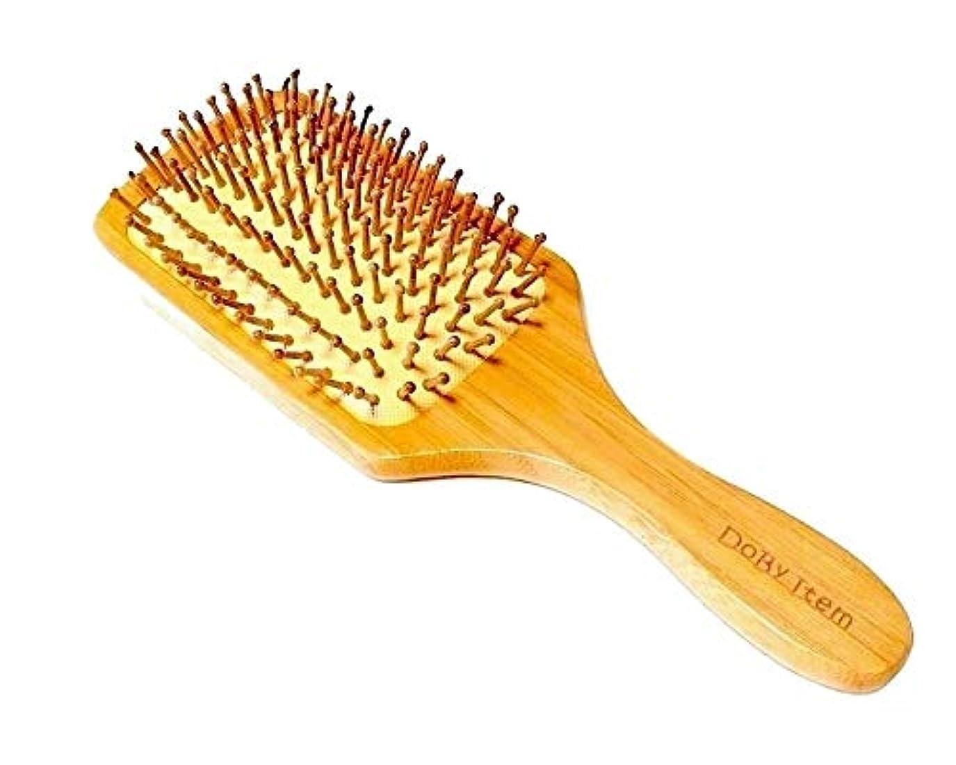 五十かる宮殿Dobyitem ヘアブラシ 静電気除去 パドルブラシ 木製 髪に優しい 頭皮マッサージ 美髪効果 (大きめブラシ&クリーナー、専用巾着、交換ピン、取説保証書5点セット)