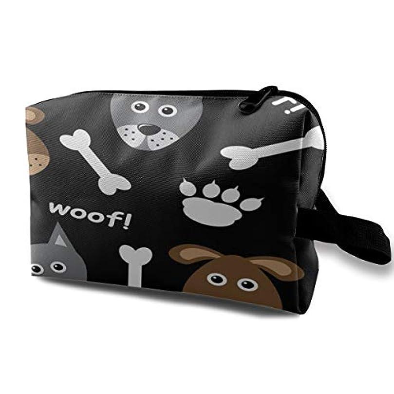 有能なタヒチパイントCute Cartoon Dog With Bone 収納ポーチ 化粧ポーチ 大容量 軽量 耐久性 ハンドル付持ち運び便利。入れ 自宅?出張?旅行?アウトドア撮影などに対応。メンズ レディース トラベルグッズ